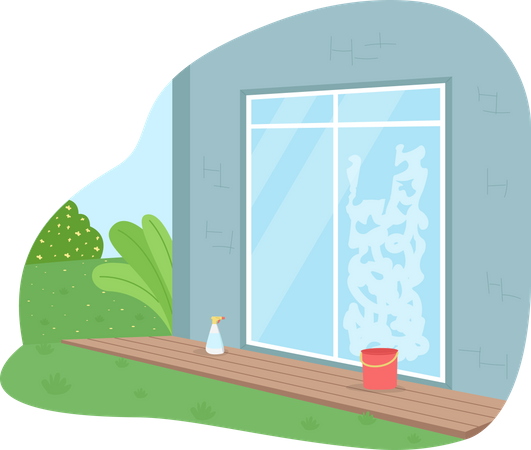 Wash window from outside Illustration