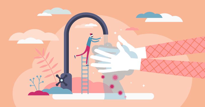 Washing hands concept Illustration