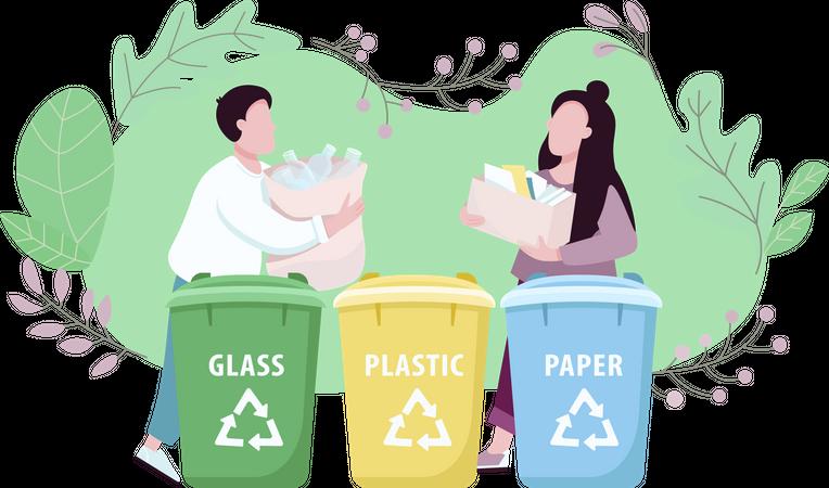 Waste management, eco friendly living Illustration