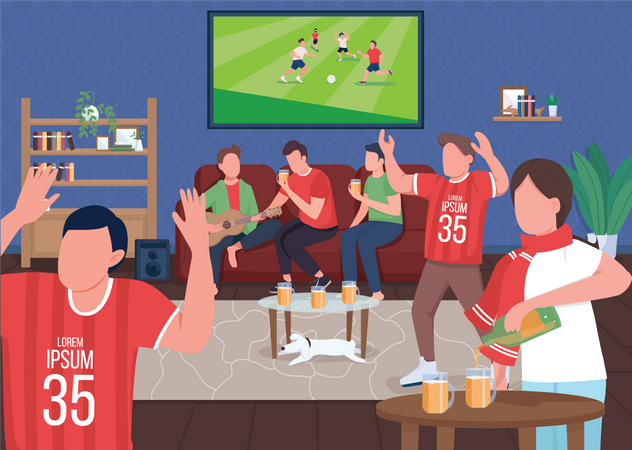 Watching football game with friends Illustration