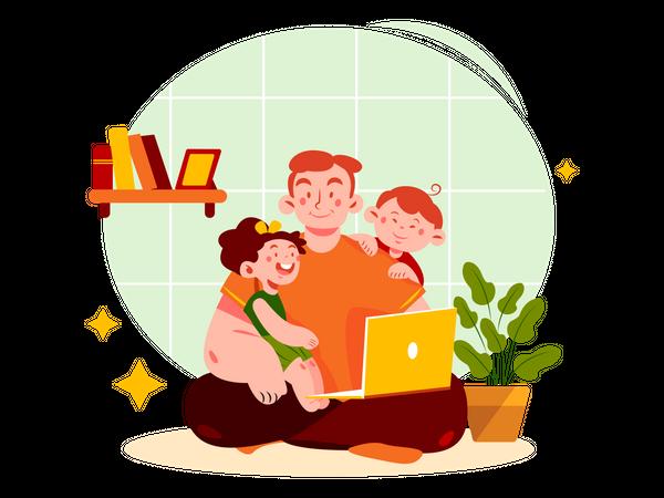 Watching movie with children Illustration