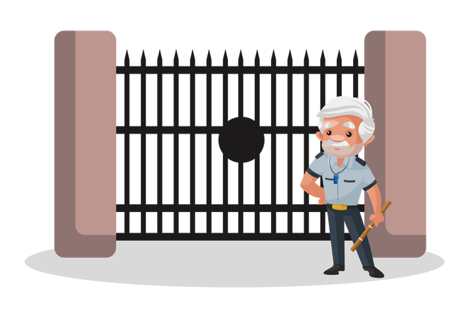 Watchman standing outside gate Illustration