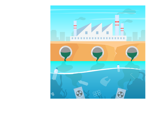 Water and air pollution Illustration