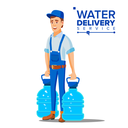 Water Delivery Service Man Vector Illustration
