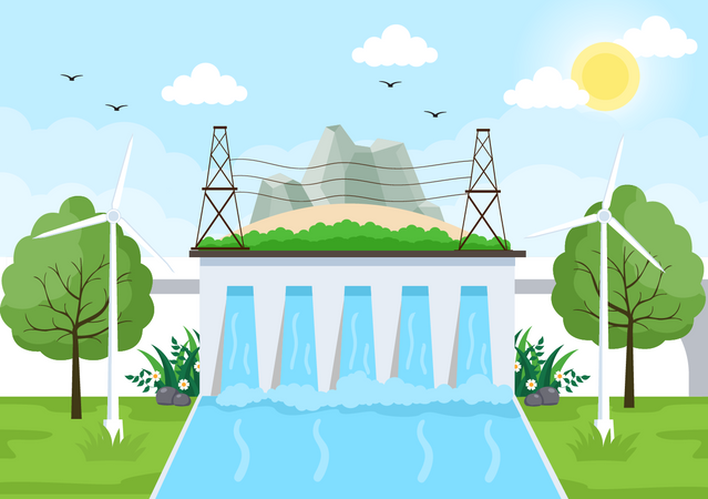 Water Energy production Illustration