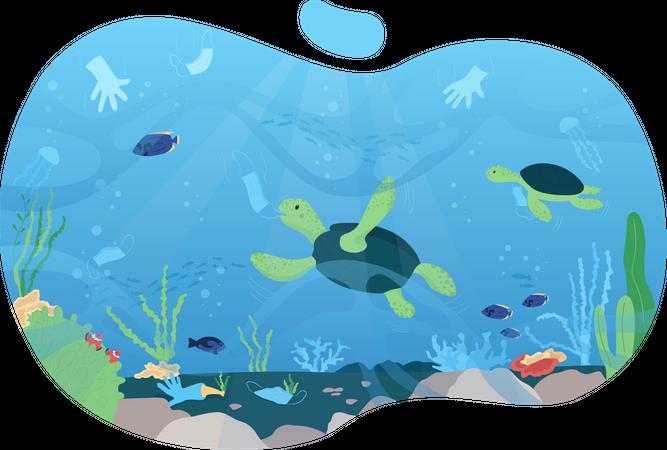 Water pollution Illustration