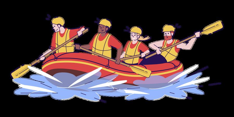 Water rafting Illustration