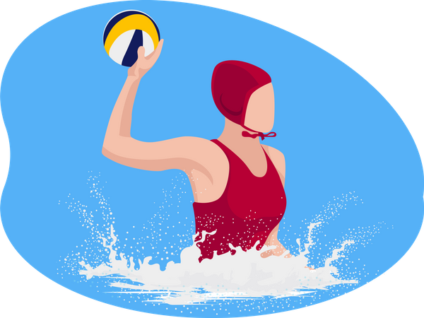 Water Volleyball Player Illustration