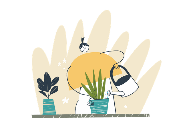 Watering the Flowers Illustration