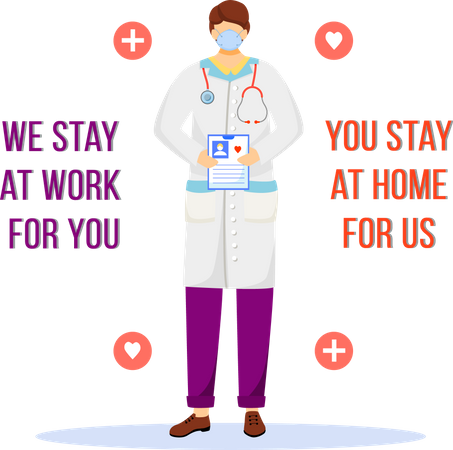 We stay at work for you, you stay at home for us Illustration