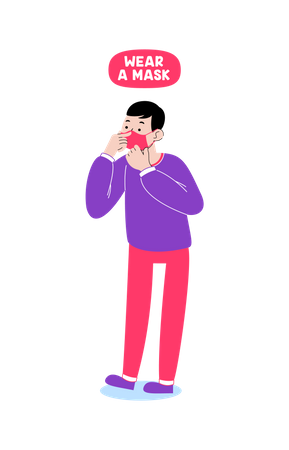 Wear face mask Illustration