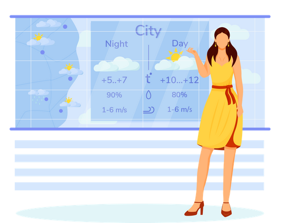 Weather forecasting by woman Illustration