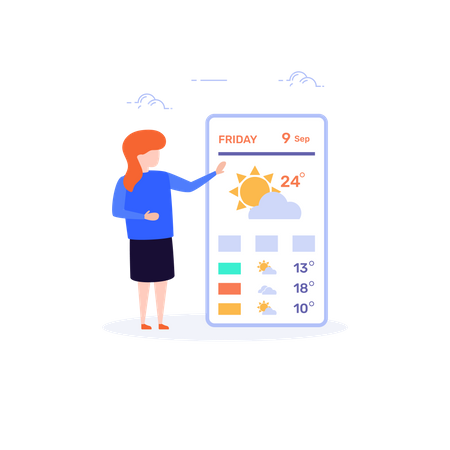 Weather reporter reporting Weather Forecast news Illustration