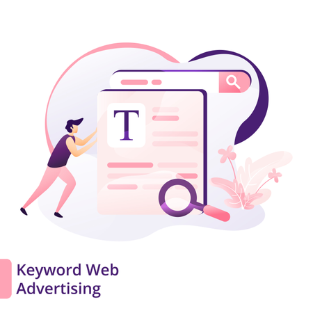 Web advertising through keyword Illustration
