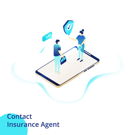 Web design page templates for Contact Insurance Agent Illustration