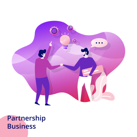 Web design page templates for Partnership Business Illustration