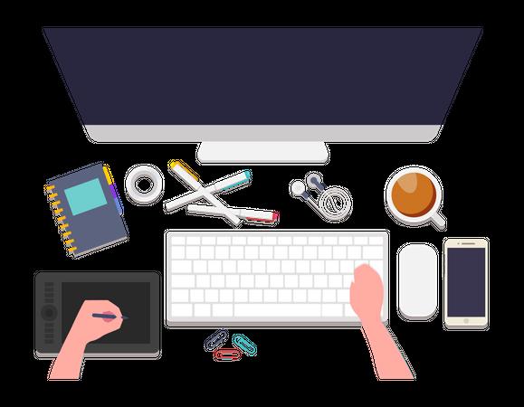Web Design workplace Illustration