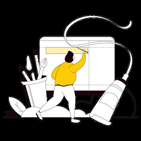 Web designer creating web layout Illustration