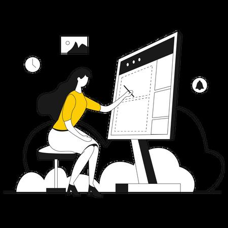 Web designer designing dashboard Illustration