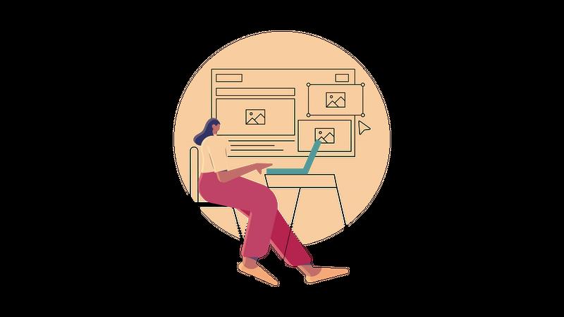 Web designer designing ui of delivery website Illustration