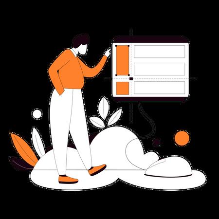 Web designer setting up web layout Illustration