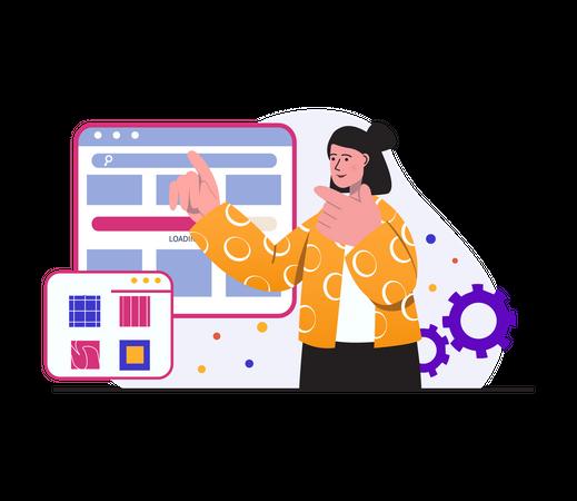 Web Designing by Developer Illustration