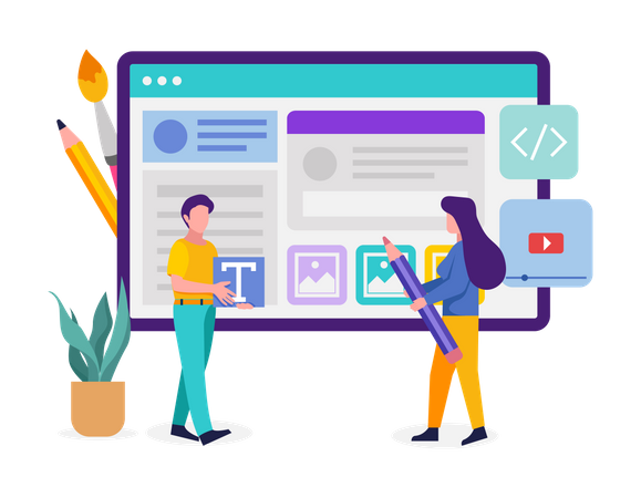 Web designing team designing web template Illustration