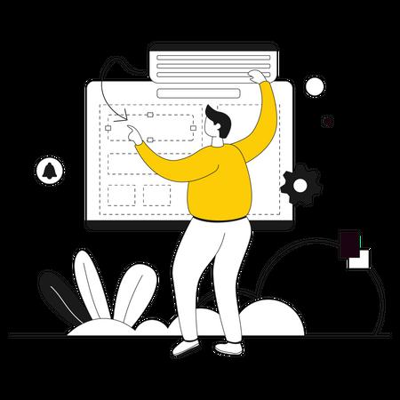 Web developer building website Illustration