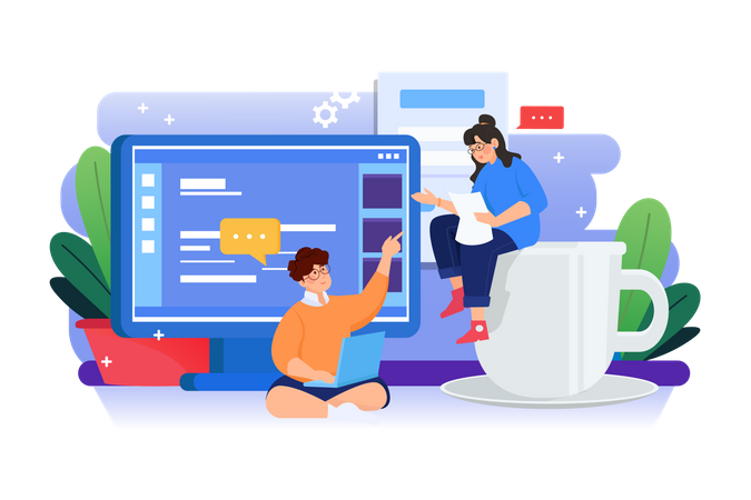 Web developer Discussing about new website Illustration