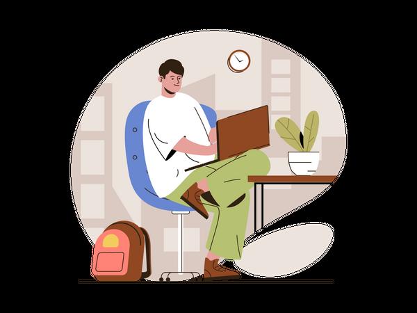 Web Developer doing coding Illustration