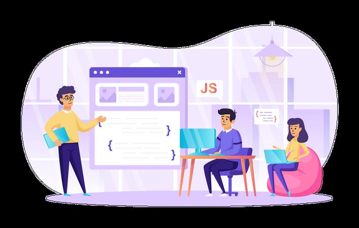 Web Developer Team Illustration