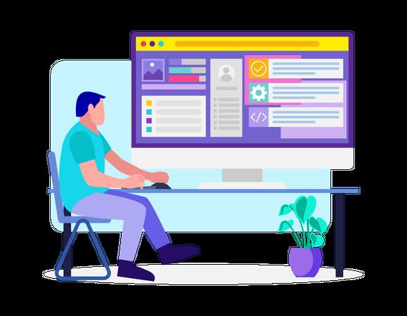 Web Developer working on website Illustration