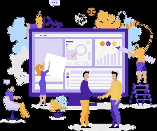 Web development company Illustration