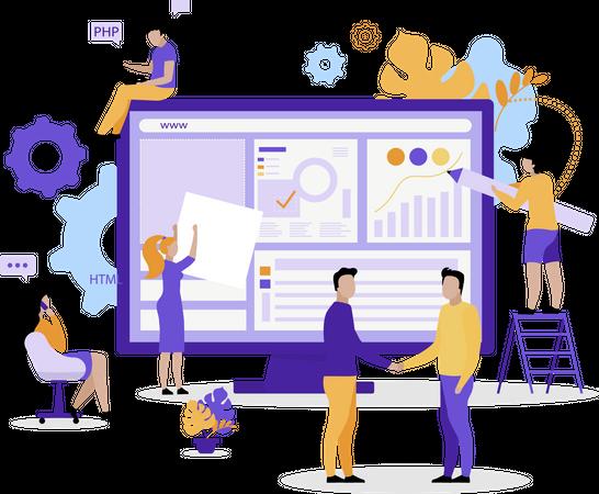 Web development team Illustration