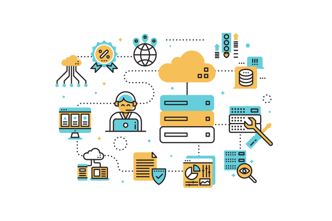 Web hosting service line icons illustration Illustration