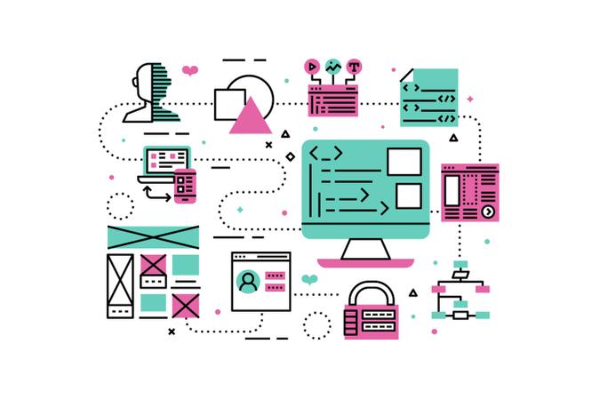 Web Programming line icons illustration Illustration