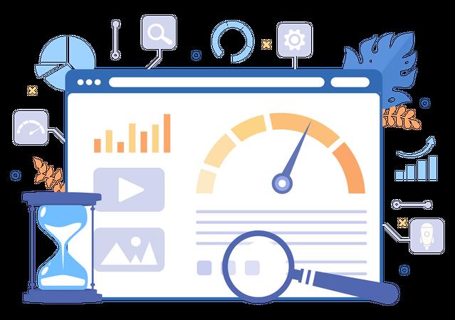 Webpage loading statistics Illustration