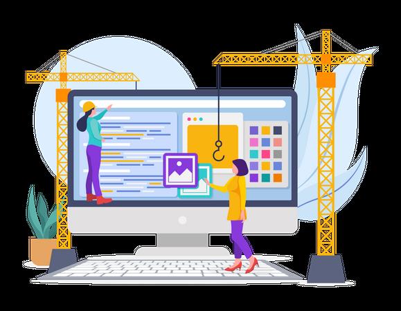 Website Building Illustration