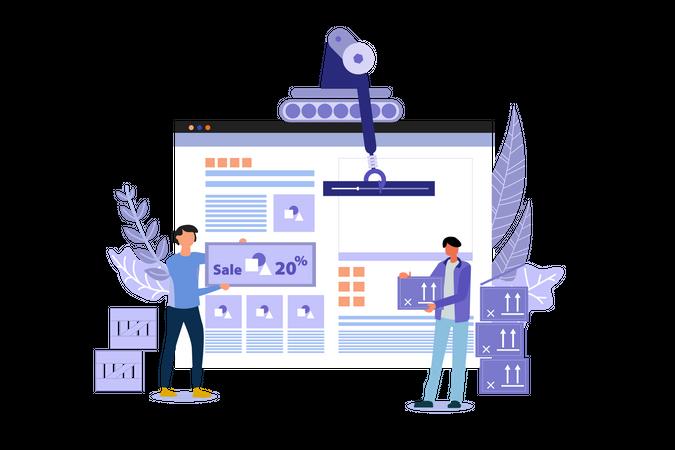 Website Building of Shopping Sale Illustration