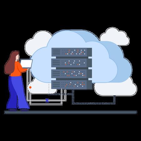 Website Cloud based Database Illustration