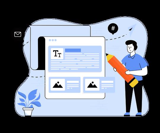 Website content writing Illustration