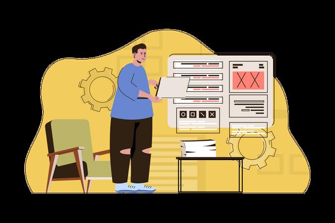 Website developer working on website layout Illustration