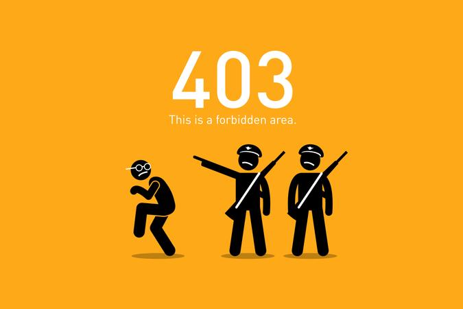 Website Error 403. Forbidden. Illustration