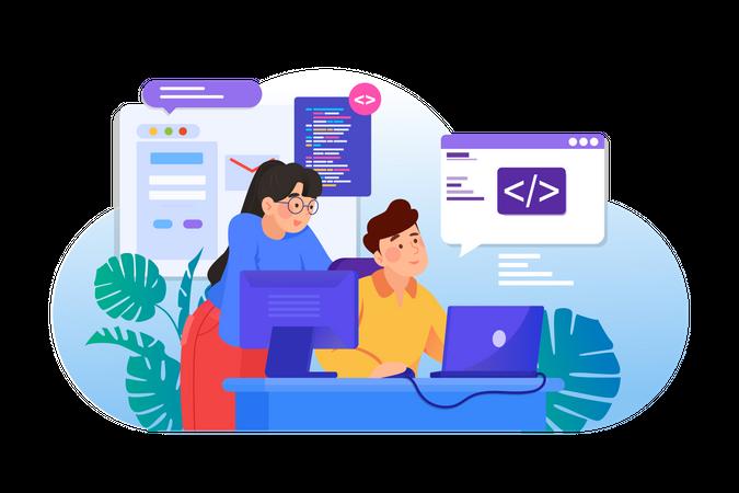Website Programming Illustration