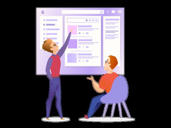 Website Ui Designer and Developer Meeting Illustration