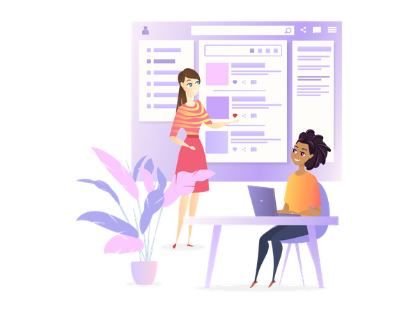 Website Ui Developer Designing Social Media Project Illustration