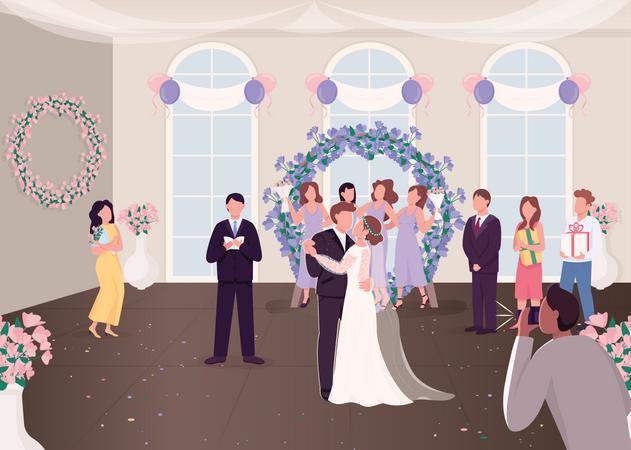 Wedding ceremony celebration Illustration