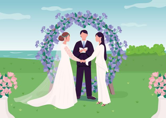 Wedding ceremony for lesbian couple Illustration