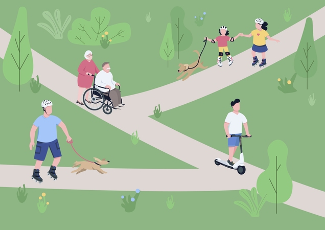 Weekend relax in park Illustration