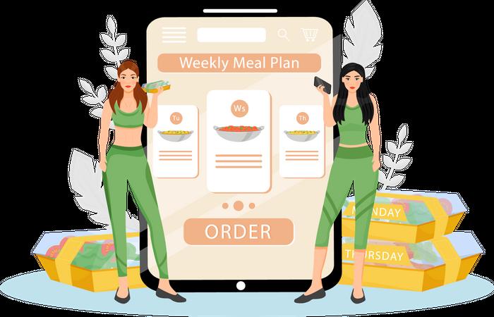 Weekly meal plan order Illustration